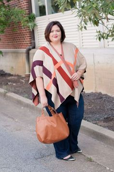 Plus Size Fashion for Women - Plus size fashion blogger Authentically Emmie in a Plaid Wrap from Talbots