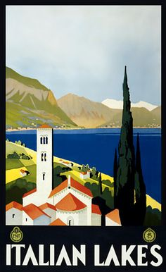 Lacs italiens. Affiche ancienne. Italie. http://atypika.ca/