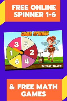 FREE Online Game Spinner - 1-6 - Ideal for whole-class & small groups. Works on Ipad as well as in computer browsers. Included on the site is a collection of games that can be played with spinners. #freemathgames #spinners #mathcenters Small Group Games, Small Groups, Math Resources, Math Activities, Online Spinner, Number Picker, Rainbow Facts, Free Math Games, Addition Games