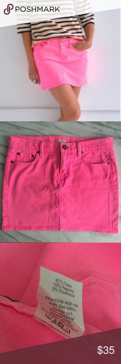 J. CREW Garment Dyed Denim Mini Skirt Neon pink denim mini skirt by J.Crew. Waist is approximately 16 inches across laying flat. Total length is approximately 15 inches. 5-pocket style. Belt loops. Zip fly with button closure. Excellent used condition. J. Crew Skirts Mini