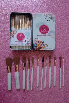 c7ff42d87 Kit Lata Com 12 Pincéis Hello Mini - R$38.90 #maquiagem #pinceisdemaquiagem  Pincéis De