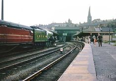 """""""Flying Scotsman at Chesterfield. First coach is a Gresley brake,but there will be room in the carriages for the crowd"""" Chesterfield Derbyshire, Flying Scotsman, Disused Stations, Steam Railway, British Rail, Train Tickets, Central Station, Coal Mining, Sheffield"""