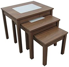 Ashcraft Furniture 3-Piece Nest of Tables with Milky Glass, 42 x 47 x 39 cm, Walnut