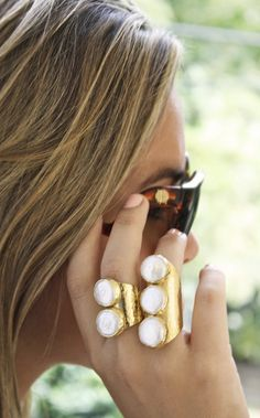 pre-order 6/12 - Triple Pearl Ring boho chic ring - kei jewelry