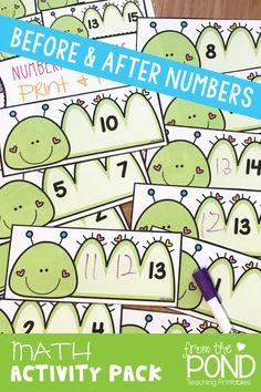 Numbers before and after can be fun with these printable activity cards that can be used with dry erase markers.