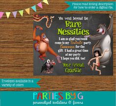 Jungle Book Chalkboard Birthday Party Thank You by PartiesByG