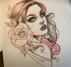 Neo Traditional the house beauty spa childwall - House Beautiful New Traditional Tattoo, Traditional Ink, American Traditional, Traditional House, Girl Face Tattoo, Girl Face Drawing, Head Tattoos, Body Art Tattoos, Portrait Tattoos