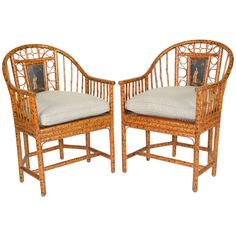 Pair of Bamboo Chinese Export Style Brighton Pavillion Chairs   From a unique collection of antique and modern armchairs at https://www.1stdibs.com/furniture/seating/armchairs/