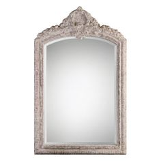 Uttermost Charente Aged Ivory Arch Mirror on sale. Bring a touch of elegance to your room with this ornate, arched frame finished in a classic, distressed aged ivory with rust gray undertones. Shabby Chic Interiors, Shabby Chic Living Room, Shabby Chic Kitchen, Shabby Chic Cottage, Shabby Chic Homes, Shabby Chic Furniture, Shabby Chic Decor, Vintage Decor, Painted Furniture