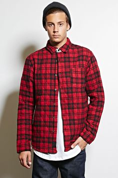 A quilted plaid jacket by Cohesive & Co.™ featuring a basic collar framed  by a subtle contrast plaid panel, a buttoned front, a chest patch pocket  with a ...