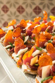 Pintxos at Ibérica La Terraza: Creamed cheeses, sun blush tomato, rocket & basil Al Fresco Dining, Basil, Tapas, Pork, Blush, Sun, Breakfast, Ethnic Recipes, Sweet