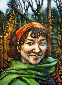"(c) Alisha Lee Jeffers. ""Self-Portrait."" Acrylic on birch panel. 5""x7"" I was mad that day. I decided to walk it off..."