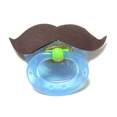 Brown Mustache pacifier 0 to 6 months by babestograndmas on Etsy, $7.00