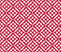 Christmas diamond in red fabric by weavingmajor on Spoonflower - custom fabric