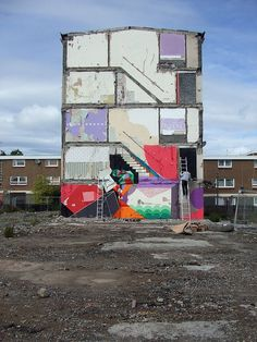 """Clemens on ladder-beginning installation.""""Muirhouses"""" German artist Clemens Behr. Two temporary installations created August 23-26 2010 on housing blocks slated for demolition and housing replacement by the City of Edinburgh Council's 21st Century Homes scheme.   """"Muirhouses"""" is the finale event of a year-long public art project """"Your New Home"""" produced by Denna Jones for North Edinburgh Arts. YNH is funded by Scottish Arts Council (now Creative Scotland) and supported by 21st Century…"""