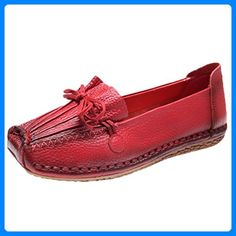 Vogstyle Women's 2016 New Casual Spring/Summer Flats Handmade Genuine Leather Slip-Ons Red Leather Pumps, Leather Slip Ons, Ballerinas, Clogs, Summer Flats, Platform Pumps, Black Pumps, Partner, Pumps Heels