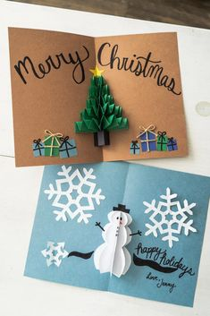 DIY Pop Up Christmas Cards - by Jenny Bess of Sweet Teal Some of the links in this post may be affiliate links which I can earn a small commission off if you click and purchase the item, at no extra cost to you. Pop Up Christmas Cards, Christmas Pops, Christmas Card Crafts, Homemade Christmas Cards, Pop Up Cards, Handmade Christmas, Holiday Crafts, Christmas Greeting Cards, Creative Christmas Cards