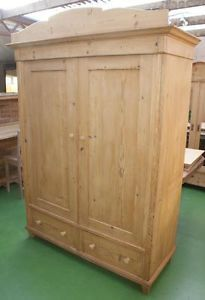 A-19th-CENTURY-LARGE-ANTIQUE-GERMAN-SOLID-PINE-ARMOIRE-WARDROBE