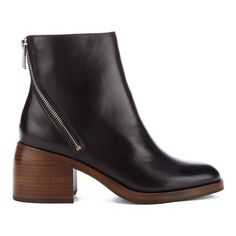 PS by Paul Smith Women's William Leather Diagonal Zip Heeled Mis Boots... (£275) ❤ liked on Polyvore featuring shoes, boots, ankle booties, black, short boots, black bootie, black boots, leather boots and black leather ankle booties