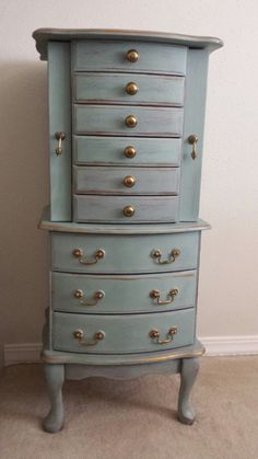 Chalk Paint® by Annie Sloan in color Duck Egg Blue with Clear and Dark Wax...