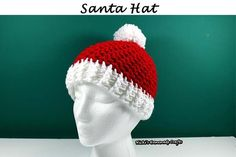 Do you need a unique and pretty Santa hat? This pattern is not just free, but can be made for any size hat and includes videos. Crochet Santa Hat, Crochet Baby, Free Crochet, Crochet Christmas, Crotchet, Easy Crochet Patterns, Crochet Stitches, Knitting Patterns, Afghan Patterns