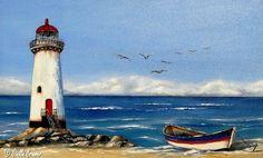 Art Gallery for Painting Class – Christine Mac Shane Art Watercolor Landscape, Landscape Art, Landscape Paintings, Watercolor Paintings, Lighthouse Painting, Boat Painting, Sea Art, Pictures To Paint, Painting Inspiration