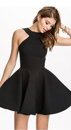 Trendy black skater dress at discount prices! You will like it and become more and more fashionable when you wear this cute  LBD. More at http://www.cutedresses.co/go/Pretty-Womens-Halter-Sleeveless-Skater-Dress