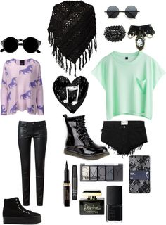 """""""goth & pastel outfits"""" by kelseycrites ❤ liked on Polyvore"""