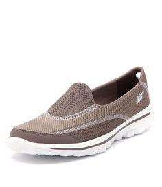 Skechers Womens Go Walk 2 Spark Taupe Women Shoes Sneakers Comfort Sneakers