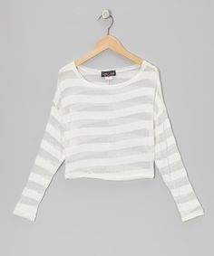 Take a look at this Silver & White Stripe Mesh Top - Girls by Rated G on #zulily today!