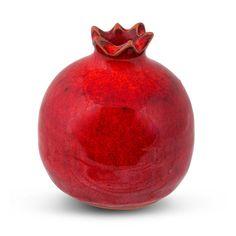 "CeramicHandmadeSize: 3"" x 3"" x 3"" / 6.5 cm X 6.5 cm x 6.5 cmThis lovely smooth red ceramic pomegranate is a beautiful piece of craftsmanship! Elegant simplicity yet innovative c"