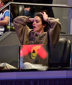 """Kendall Jenner's Printed Sweatshirt Has Us Asking, """"Is Kanye Her New Stylist? Kardashian Memes, Kardashian Jenner, Kylie Jenner, Jenner Hair, Kung Fu Kenny, Relationship Goals Funny, Khadra, Love Smile Quotes, Kendall Jenner Outfits"""