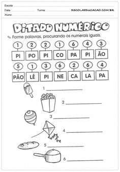 Atividades de Português 1º ano - Ditado numérico