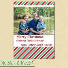 Red and Green Striped Photo Christmas Card by MochaAndMint