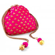 Designer potli bag in Pink with clover sequined floral pattern for an upcoming party or wedding. Shop for ethnic drawstring bags at dvibgyor.com  https://dvibgyor.com/nidhi-agarwal-pink-sequined-potli-bag.html  #ethnicbags #potlibags #indianbags #drawstrings #weddingbags #partybags
