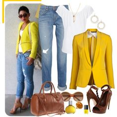 White, Brown, Jeans, Gold Outfit Pop of Yellow, created by meggie-lair on Polyvore