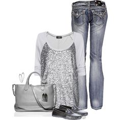 Comfy Sequin Shirt and Jeans :)