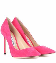 b73e28940a3 Romy 100 pink suede pumps Jimmy Choo s Romy 100 pumps are crafted from  smooth suede in a bold pink hue for scene-stealing visibility. The pointed  toe and ...