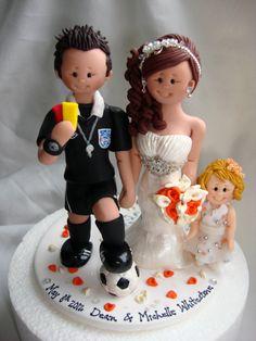 Personalised Bride & Groom Football Referee Sports theme wedding cake topper…