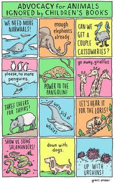 Advocacy for animals ignored by children's books ! / Plaidoyer pour les animaux laissés pour compte par les livres pour enfants !