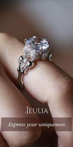 Four Skull Round Cut Created White Sapphire Skull Ring #Jeulia