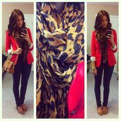 red blazer. leopard scarf. tan flats. great fall look!