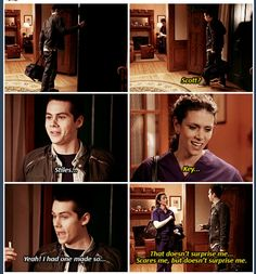 Dylan O'Brien (Stiles) Melissa Ponzio (Melissa McCall) - Teen Wolf - this was sooo funny Stiles Teen Wolf, Teen Wolf Dylan, Teen Wolf Cast, Teen Wolf Memes, Teen Wolf Quotes, Teen Wolf Funny, Dylan O'brien, Malia Tate, Scott Mccall