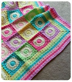 Spring Flowers Blanket - Sunburst Flower Motif with Granny Stripe Border by Kiran Sharma kT4wC