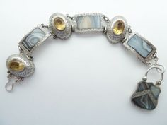 EARLY-ANTIQUE-SCOTTISH-SILVER-AGATE-BRACELET-FOILED-CITRINES-PADLOCK-C-1860
