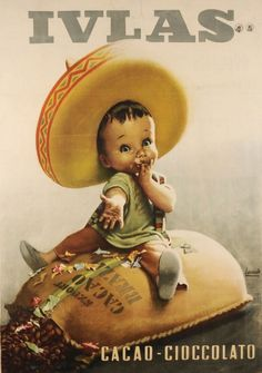 """Gino Boccasile (1901-1952), Cacao- Cioccolato, Ivlas. Boccasile promoted many famous Italian brands with illustrations of babies and children. """"Baby ads"""" were a full-on trend in the first half of the 1900s, with notable contributions by designer such as Dudovich, Muggiani, and Metlicovitz."""