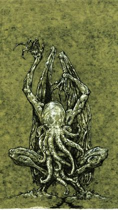 everything you need to know about the great cthulhu --->[link] or better yet you could read the astounding works of H. Lovecraft for yourself. vision of cthulhu Cthulhu Art, Call Of Cthulhu Rpg, Lovecraft Cthulhu, Hp Lovecraft, Yog Sothoth, Lovecraftian Horror, Horror Fiction, Sea Monsters, Illustrations