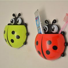Plastic bathroom tool ladybug toothbrush toothpaste holder storage organizer box suction hook for bath for wall products tools #Affiliate