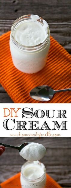 If you have a couple of minutes, and 24 hours to wait, you can make homemade sour cream in your own kitchen. DIY Sour Cream (How To Make Butter) Make Sour Cream, Homemade Sour Cream, Homemade Cheese, Substitute For Sour Cream, Buttermilk Substitute, Homemade Butter, Homemade Sauce, Homemade Food, Cheese Recipes