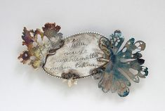 LETTERS FROM THE ISLAND, brooch, 2015, silver, patina